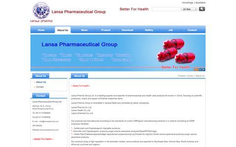 Screenshot of About Page lansapharma.com - Lansa Pharmaceutical Group - captured Oct. 1, 2014
