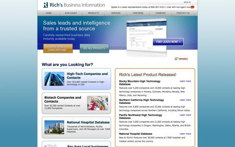 Screenshot of Home Page Login Page richsdata.com - Richs Data Search | Bio-Science, High-Tech, Lead Generation and California B2B Databases - captured Oct. 18, 2017