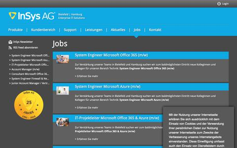 Screenshot of Jobs Page insys.de - InSys AG | IT-Solutions - captured Oct. 11, 2018