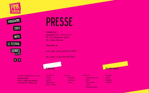 Screenshot of Press Page pinkscreens.org - Practical | Genres d'à côté - captured Oct. 22, 2018
