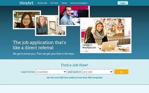 Screenshot of Home Page hireart.com - Startup Jobs & Startup Companies Hiring - HireArt - captured Sept. 16, 2014