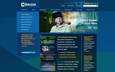 Screenshot of Home Page chetmorrison.com - Chet Morrison Contractors | Land, Offshore, and Marine Construction - captured Oct. 2, 2014