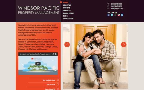 Screenshot of Home Page wppm.com - San Ramon, Danville, Alamo, Walnut Creek, Dublin Property Management by Windsor Pacific Property Management | Home Page - captured Oct. 9, 2014