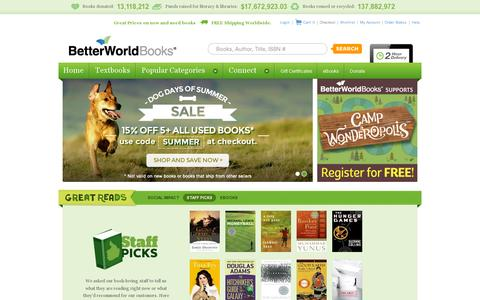 Screenshot of Home Page betterworldbooks.com - BetterWorldBooks.com - New & Used Books for Sale, Textbooks, Book Reviews & more - FREE SHIPPING - captured July 11, 2014