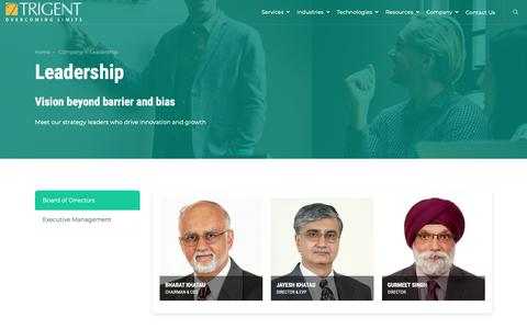 Screenshot of Team Page trigent.com - Leadership - captured Feb. 12, 2019