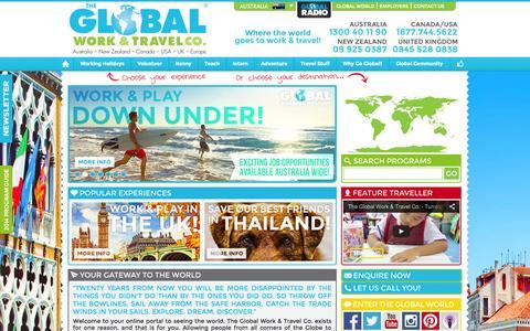 Screenshot of Home Page globalworkandtravel.com - The Work & Travel Experts! | The Global Work & Travel Co. - captured Oct. 6, 2014