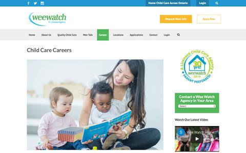 Screenshot of Jobs Page weewatch.com - Child Care Careers - Wee Watch - captured Oct. 20, 2018