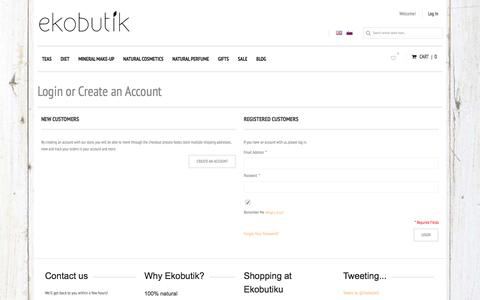 Screenshot of Login Page ekobutik.eu - Customer Login - captured March 17, 2016