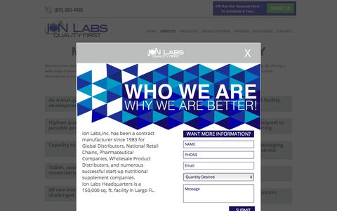 Screenshot of Services Page ionlabs.com - Ion Labs Contract Manufacturing Services - captured Oct. 15, 2017