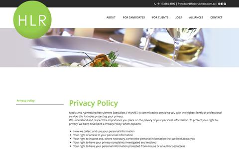 Screenshot of Privacy Page hlrecruitment.com.au - Privacy Policy and Terms of Business Hospitality Recruitment and Leisure Recruitment | Hospitality Jobs and Leisure Jobs   | Hospitality Recruitment and Leisure Recruitment | Hospitality Jobs and Leisure Jobs - captured Jan. 23, 2016