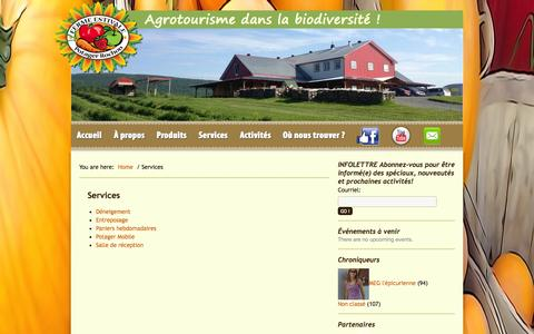Screenshot of Services Page fermeestivale.ca - Services - captured Sept. 30, 2014