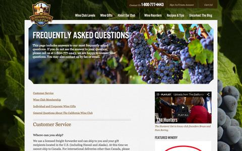Screenshot of FAQ Page cawineclub.com - Frequently Asked Questions | The California Wine Club - captured Sept. 19, 2014