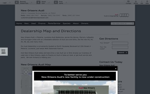 Screenshot of Maps & Directions Page neworleansaudi.com - Map - New Orleans Audi - New and Used Car Dealer in Metairie Louisiana - captured Oct. 1, 2014