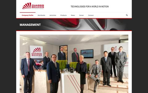 Screenshot of Team Page chassisbrakes.com - Chassis Brakes International   » Management - captured Oct. 1, 2014