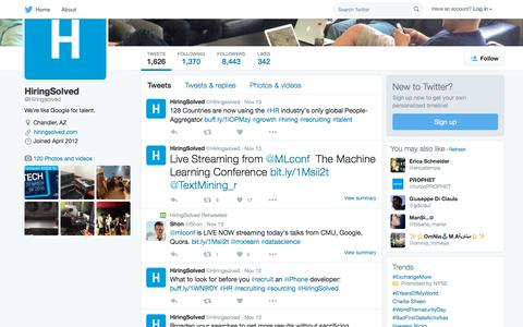 Screenshot of Twitter Page twitter.com - HiringSolved (@Hiringsolved) | Twitter - captured Nov. 17, 2015