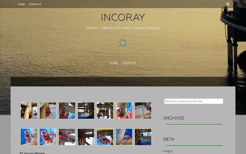 Screenshot of Home Page incoray.com - INCORAY | Onshore ~ Offshore nDT & Work at Heights Specialist - captured Oct. 6, 2014