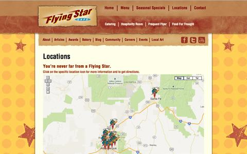 Screenshot of Locations Page flyingstarcafe.com - Locations | Flying Star Cafe - captured Sept. 30, 2014