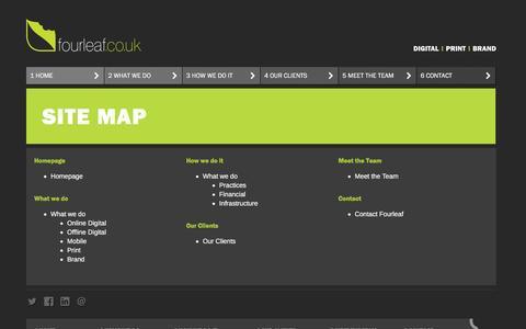Screenshot of Site Map Page fourleaf.co.uk - Fourleaf - digital design agency | print design agency | brand design agency - London, Surrey - captured Aug. 4, 2016