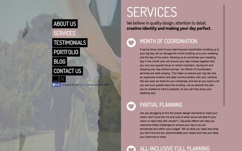 Screenshot of Services Page lsquaredaffairs.com - L Squared Affairs Weddings & Events - captured Oct. 27, 2014