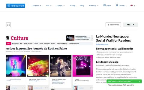 Screenshot of Press Page dialogfeed.com - Le Monde: Newspaper Social Wall for Readers - - captured July 4, 2016
