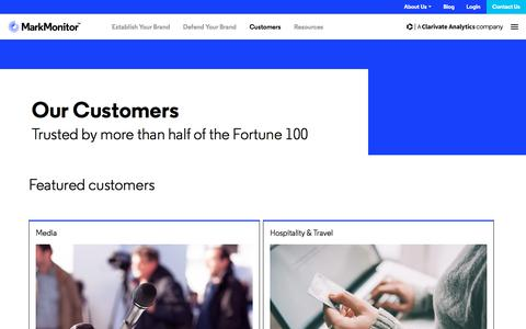Screenshot of Case Studies Page markmonitor.com - Our Customers - MarkMonitor - captured Jan. 13, 2020