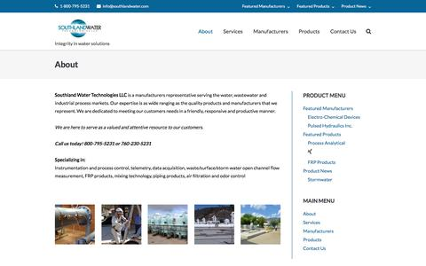 Screenshot of About Page southlandwater.com - About – SOUTHLAND WATER TECHNLOGIES - captured Dec. 1, 2016