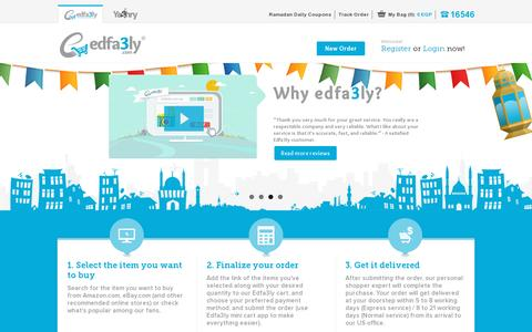 Screenshot of Home Page edfa3ly.co - Shop Online from USA to EGYPT - Edfa3ly - captured July 11, 2014