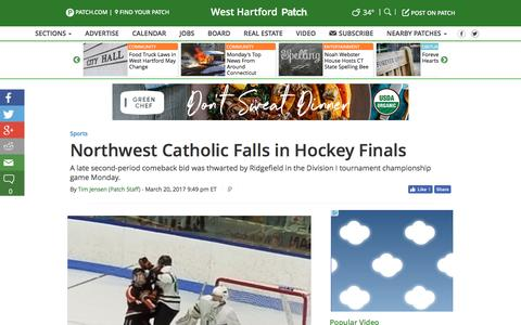 Screenshot of patch.com - Northwest Catholic Falls in Hockey Finals - West Hartford, CT Patch - captured March 21, 2017