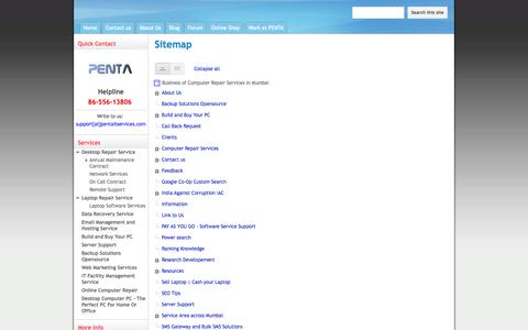 Screenshot of Site Map Page pentaitservices.com - Sitemap - Business of Computer Repair Services in Mumbai - captured Sept. 29, 2014