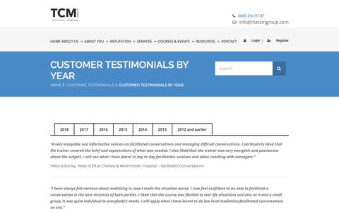 Screenshot of Testimonials Page thetcmgroup.com - Customer Testimonials from 2012 to 2017 | The TCM Group - captured Sept. 19, 2018