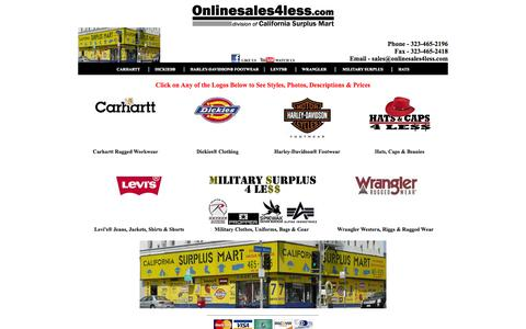 Screenshot of Home Page onlinesales4less.com - At Onlinesales4less.com you can get Army, Navy, Military Surplus, Rothco, Alpha, Dickies clothes, Levis 501 jeans, Levis 550, 505 jeans, Wrangler, Riggs, Carhartt clothes, Hats and Caps 4 LESS. - captured Oct. 6, 2014