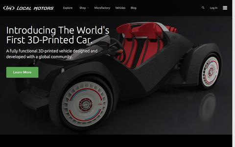Screenshot of Home Page localmotors.com - A World of Vehicle Innovations - captured Sept. 25, 2014