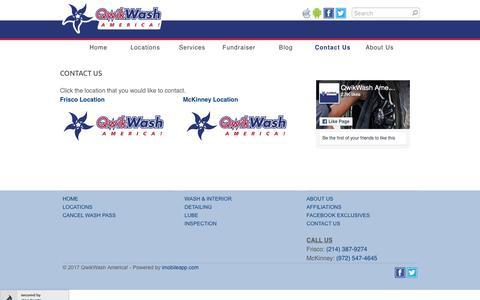 Screenshot of Contact Page qwikwash.com - Contact Us - QwikWash America! - captured Sept. 22, 2018