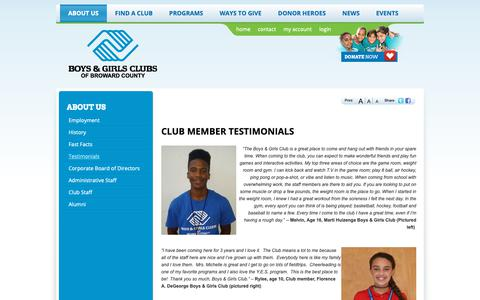 Screenshot of Testimonials Page bgcbc.org - Testimonials | Boys and Girls Clubs of Broward County - captured Oct. 6, 2018