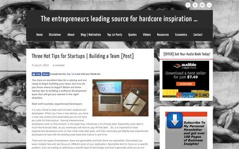 Screenshot of Blog hugodaviles.com - Three Hot Tips for Startups | Building a Team [Post] - captured Jan. 4, 2017