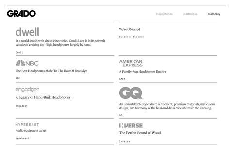 Screenshot of Press Page gradolabs.com - Grado Labs - Press - captured Nov. 5, 2018