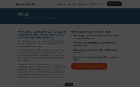Screenshot of About Page studentloanhero.com - About Student Loan Hero - The best way to manage your student loan debt. | Refinance and Consolidate Your Student Loans | Student Loan Hero - captured Jan. 30, 2016