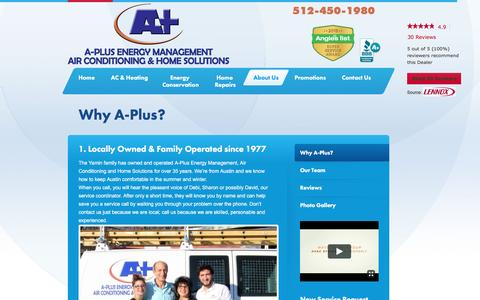 Screenshot of About Page aplusac.com - Why choose A-Plus as your Austin HVAC Contractor?  | A-Plus Energy Management - captured Nov. 16, 2016