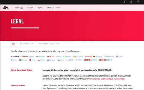 Legal - Official EA Site