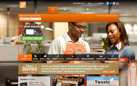Screenshot of Jobs Page homedepot.com - Home Depot Careers - captured Jan. 5, 2016