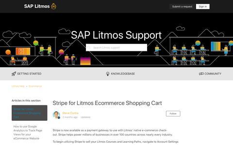 Screenshot of Support Page litmos.com - Stripe for Litmos Ecommerce Shopping Cart – Litmos Help - captured Oct. 22, 2019