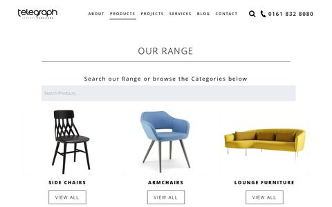 Screenshot of Products Page telegraphcontractfurniture.com - Our Range - Telegraph Contract Furniture - captured Sept. 20, 2018