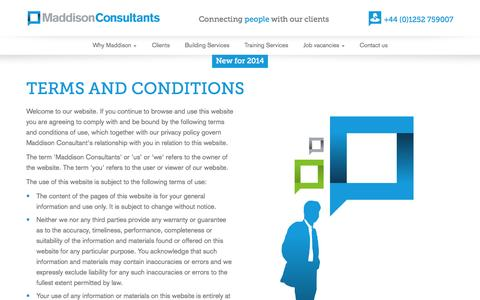 Screenshot of Terms Page maddisonconsultants.co.uk - | Maddison Consultants - captured Oct. 3, 2014