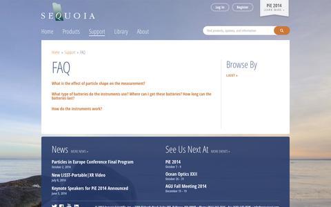 Screenshot of FAQ Page sequoiasci.com - FAQ | Sequoia Scientific - captured Oct. 3, 2014