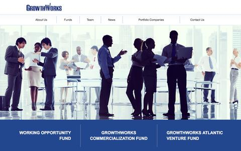 Screenshot of Home Page growthworks.ca - GrowthWorks - Venture Capital Management, Investment Funds Canada, Working Opportunity Fund - captured Feb. 2, 2016