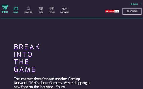 Screenshot of Home Page tgn.tv - TGN - The Network where Gamers get BIG on YouTube - captured Sept. 24, 2014