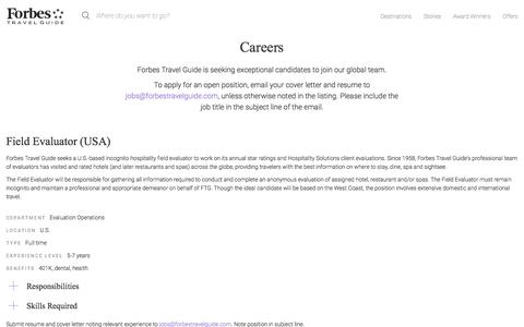 Screenshot of Jobs Page forbestravelguide.com - Careers - Forbes Travel Guide - captured July 13, 2018