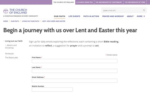 Screenshot of Signup Page churchofengland.org - Pilgrim Journey's - Lent and Easter | The Church of England - captured Feb. 5, 2019