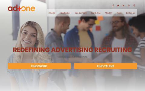 Screenshot of Home Page adonetostaff.com - Advertising & Marketing Staffing Agencies | ad+one - captured Oct. 4, 2018