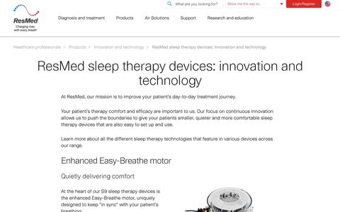 Innovation and technology | ResMed sleep devices